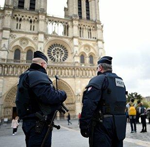 Полицейские у собора Нотр Дам де Пари, архивное фото