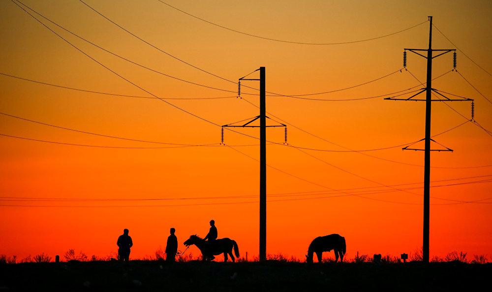 Местные жители с лошадьми рядом с линией электропередач в городе Арал, архивное фото