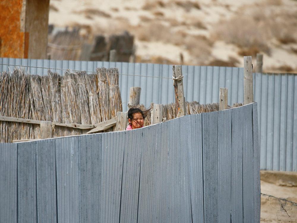 Маленькая жительница села близ Аральского моря выглядывает из-за забора, архивное фото
