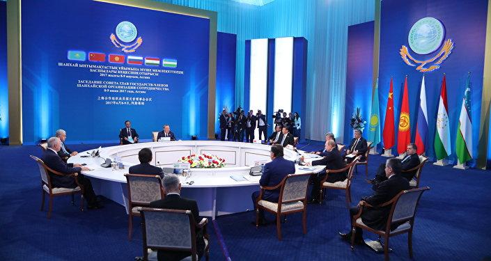 Заседание cовета глав государств-членов ШОС в узком составе