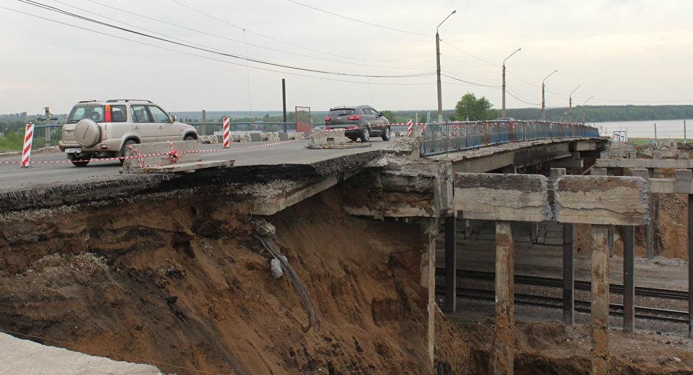Ремонт моста на въезде в Петропавловск