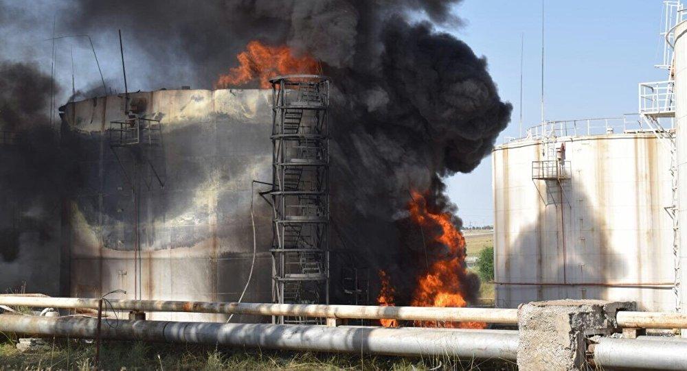 Нефтебаза АО Шымкент мұнайөнімдері в Шымкенте после возгорания резервуара с бензином