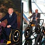 Нурсултан Назарбаев и Альбер II на велосипедах