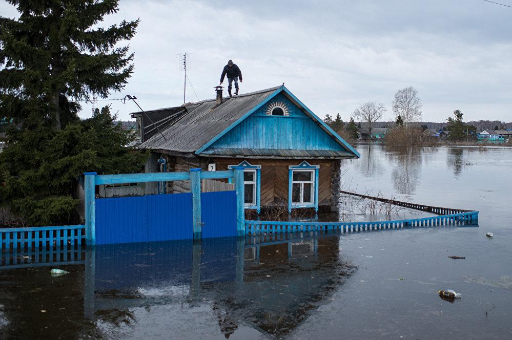 Фотографии, сделанные во время весеннего паводка в 2016 году в поселках Омской области