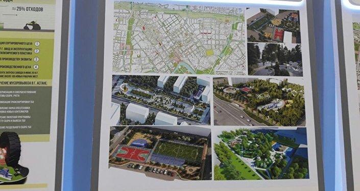 Эскиз новых строительных объектов в Астане