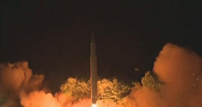 Запуск баллистической ракеты в Северной Корее