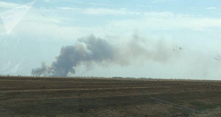 Степной пожар на западе Казахстана