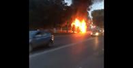 Маршрутка с пассажирами загорелась в Караганде