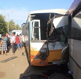 Столкновение двух автобусов в Уральске