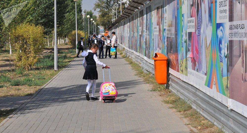 Девочка идет в школу