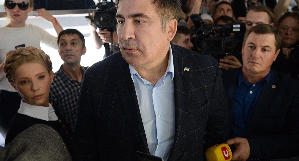 Михаил Саакашвили и лидер всеукраинского объединения Батькивщина Юлия Тимошенко