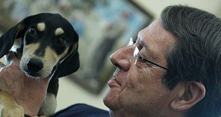 Никос Анастасиадис и щенок из приюта