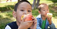 Мальчик есть яблоко