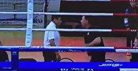 Драка между рефери и тренером по боксу в Астане