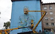 Граффити-портрет Александра Винокурова