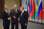 Нурсултан Назарбаев, Александр Лукашенко и Владимир Путин во время заседания Совета глав государств СНГ, архивное фото