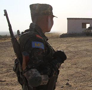 Военнослужащий во время миротворческих учений ОДКБ на полигоне в Киргизии, архивное фото