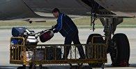 Рабочий разгружает багаж из самолета, архивное фото