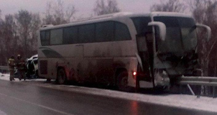Өскемен – Новосібір рейсін орындаған автобус,  жол апаты болған жер