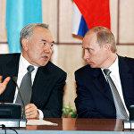 В.Путин и Н.Назарбаев во время переговоров в Омске