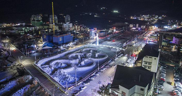 Олимпийские кольца в Пхенчхане, Корея