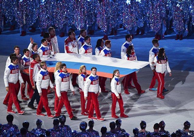 Вынос российского флага на Олимпиаде-2014