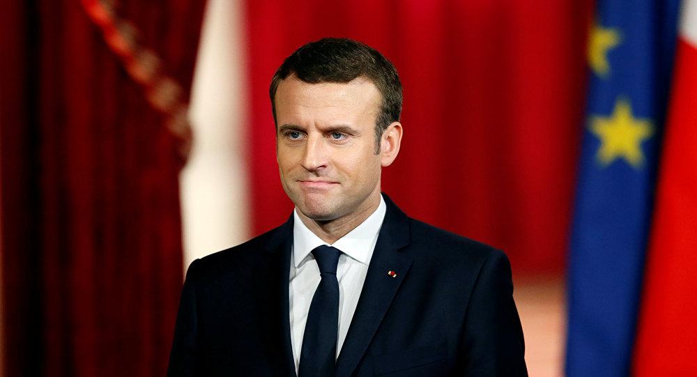 Французский президент Эммануэль Макрон во время его инаугурации