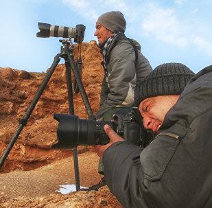 Фотографы на съемках Чарынского каньона, архивное фото