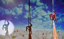 Выступление воздушных гимнастов, архивное фото