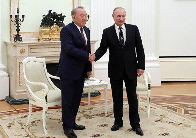 Встреча президента РФ В. Путина с президентом Казахстана Н. Назарбаевым