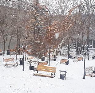 Астанада қатты боран университеттің шатырын жұлып әкетті