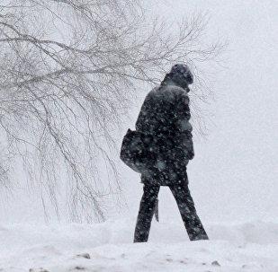 Мужчина идет по заснеженной дороге, архивное фото