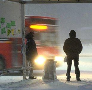Пассажиры ждут автобус на остановке, архивное фото