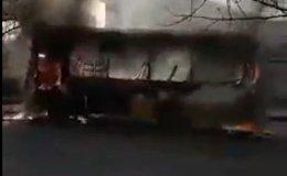Автобус сгорел в Шымкенте