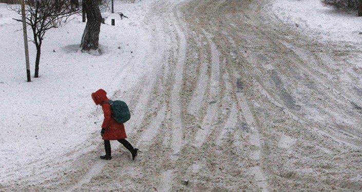 Снегопад и штормовой ветер во Владивостоке