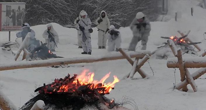 Учения морпехов Северного флота в условиях, близких к арктическим