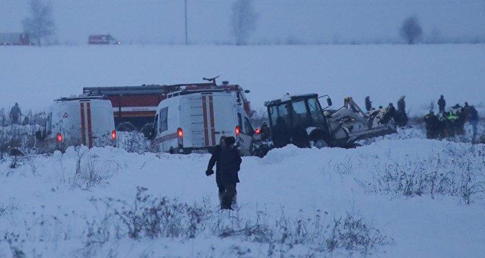 На месте крушения самолета Ан-148 в Московской области