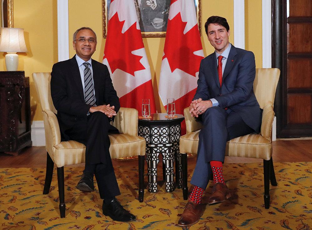 Премьер-министр Канады Джастин Трюдо и главный исполнительный директор Infosys Салил Парех на встрече в Мумбаи, Индия, 20 февраля 2018 года