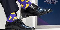 Носки канадского премьер-министра Джастина Трюдо привлекли внимание прессы во время сессии на ежегодном заседании Экономического форума (ВЭФ) 25 января 2018 года в Давосе, восточная Швейцария