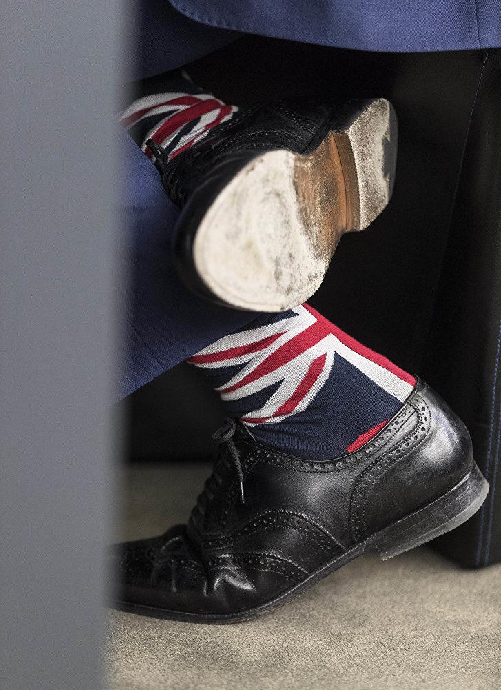 Бывший британский лидер Партии независимости Найджел Фараж носит носки в тон флагу своей страны