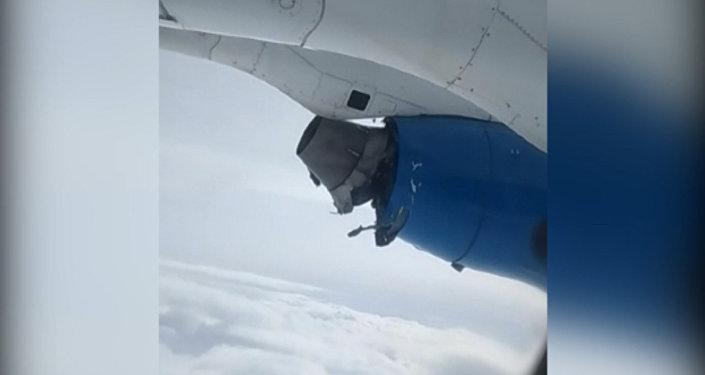 Разваливающийся двигатель самолета кыргызской авиакомпании