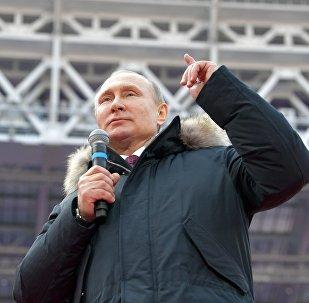 Президент РФ Владимир Путин на митинге За сильную Россию!
