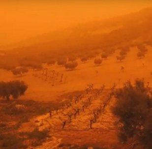 Песчаная буря на Крите 22 марта 2018 года
