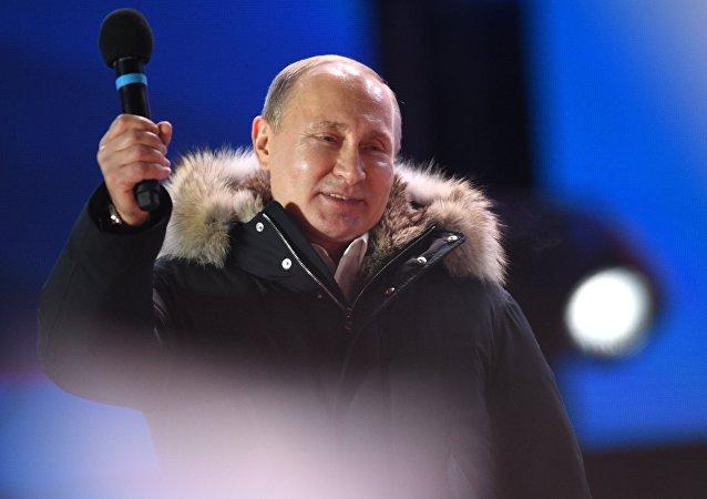 Владимир Путин на митинге-концерте на Манежной площади в Москве, архивное фото