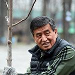 Қырғызстан президенті Сооронбай Жээнбеков Бішкектегі сенбілікке спорттық киіммен шықты.