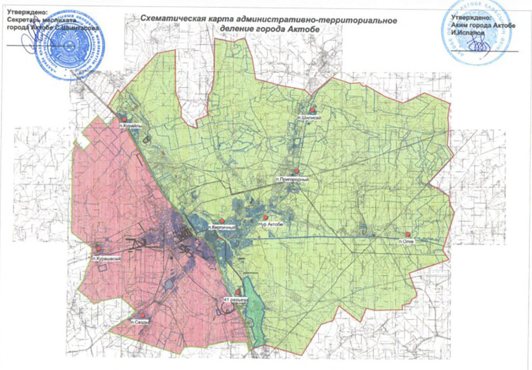 Схематическая карта административно-территориального деления  Актобе