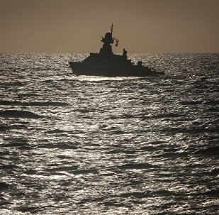 Учения корабельных сил Каспийской флотилии, архивное фото