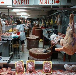 Прилавок с мясом, архивное фото