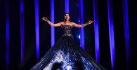 Певица Элина Нечаева (Эстония) на репетиции первого полуфинала конкурса Евровидения-2018