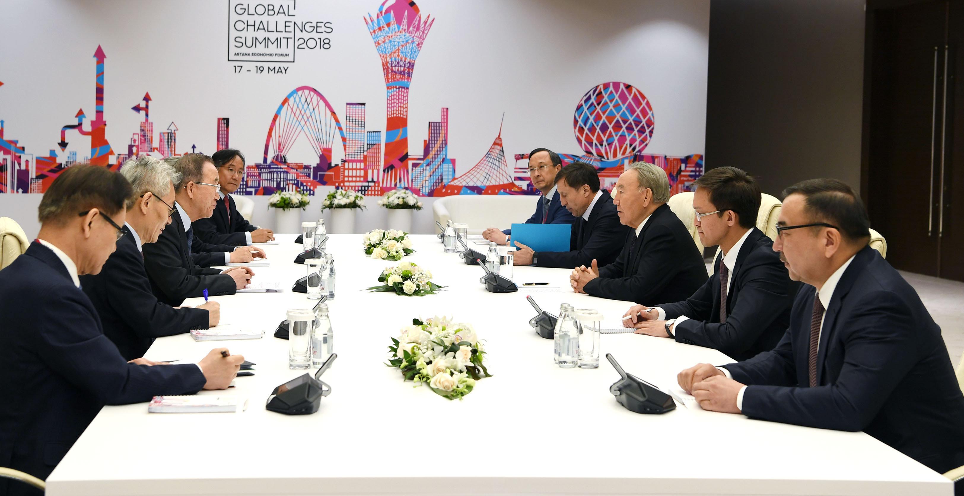Встреча Нурсултана Назарбаева и Пан Ги Муна в Астане, 17.05.2018
